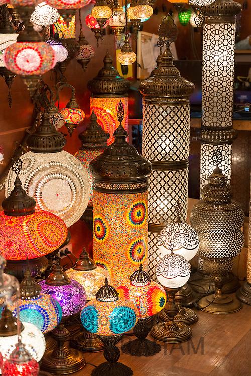 Ornate lamps lanterns inside The Grand Bazaar, Kapalicarsi, great market in Beyazi, Istanbul, Republic of Turkey