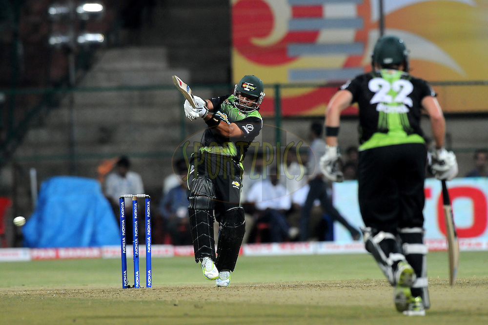 Ashwell Prince of Warriors bats during match 1 of the NOKIA Champions League T20 ( CLT20 )between the Royal Challengers Bangalore and the Warriors held at the  M.Chinnaswamy Stadium in Bangalore , Karnataka, India on the 23rd September 2011..Photo by Pal Pillai/BCCI/SPORTZPICS.