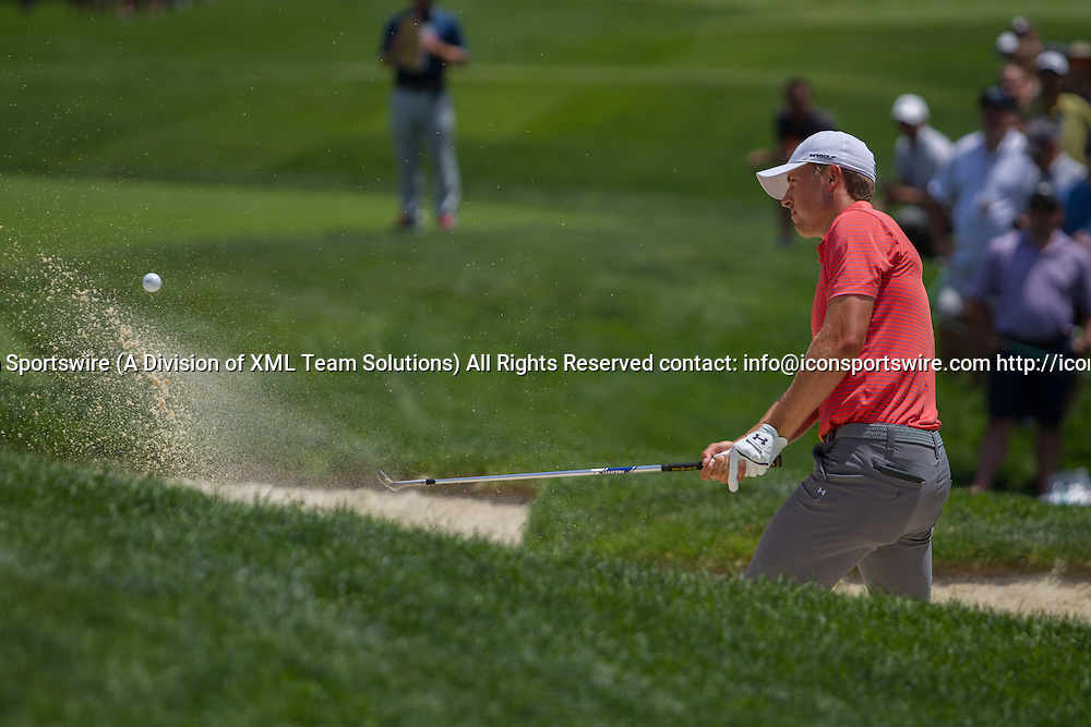 June 03, 2016: Jordan Spieth plays from a bunker during the Second Round of the Memorial Tournament presented by Nationwide at Muirfield Village Golf Club in Dublin, OH. (Photo by Michael Griggs/Icon Sportswire)