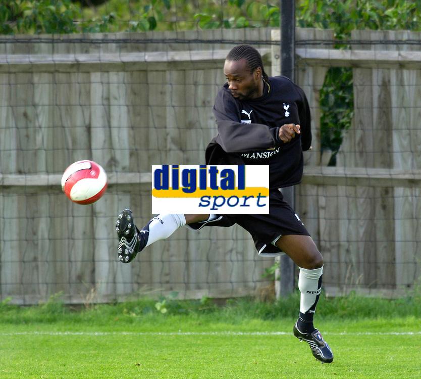 Photo: Daniel Hambury.<br />Tottenham Hotspur training session. 07/09/2006.<br />New signing Pascal Chimbonda pictured during training.