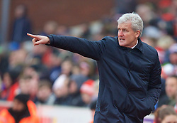 STOKE-ON-TRENT, ENGLAND - Sunday, January 4, 2015: Stoke City's manager Mark Hughes during the FA Cup 3rd Round match against Wrexham at the Britannia Stadium. (Pic by David Rawcliffe/Propaganda)
