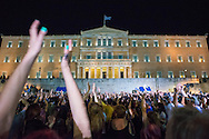 Athens, 03/07/2015: Supporters of the No campaign attend a rally in Syntagma square.