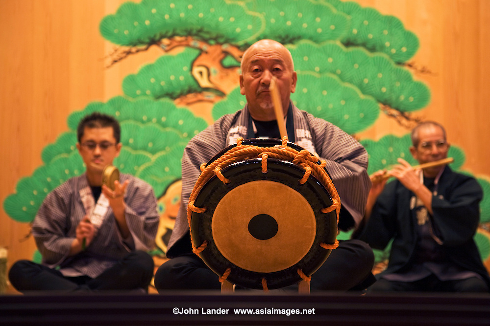 "Ceremonial music or ""kagura""- entertainment of the gods, is often heard at Shinto shrines throughout Japan, especially during one of their many festivals held throughout the year. These ensembles are typically made up of flute, drum, and small cymbals."
