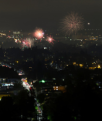 Unauthorized fireworks explode over the city of Oakland, Calif. as residents celebrate the 241st anniversary of American independence from Great Britain, Tuesday, July 4, 2017. (Photo by D. Ross Cameron)