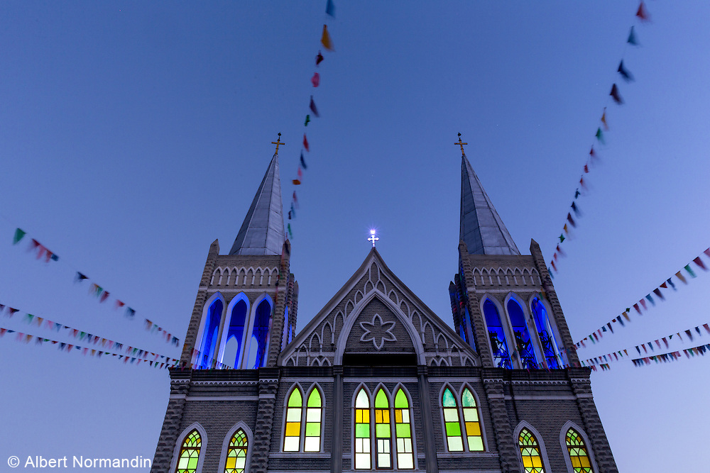 Church, flags with lights before sunrise, Taunggyi