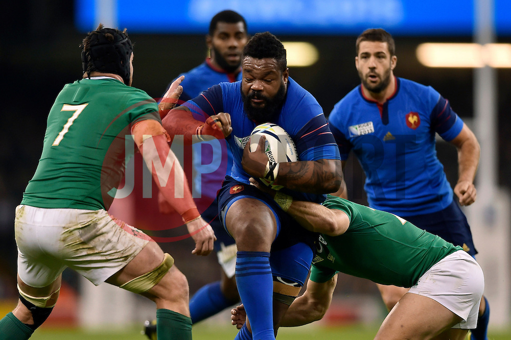 Mathieu Bastareaud of France looks to fend Sean O'Brien of Ireland - Mandatory byline: Patrick Khachfe/JMP - 07966 386802 - 11/10/2015 - RUGBY UNION - Millennium Stadium - Cardiff, Wales - France v Ireland - Rugby World Cup 2015 Pool D.