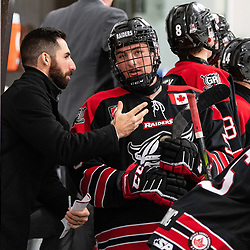 GEORGETOWN, ON - NOVEMBER 3: Rob Ricci Assistant Coach of the Georgetown Raiders gives some advice to Nolan Dillingham #5 of the Georgetown Raiders November 3, 2018 at Gordon Alcott Memorial Arena in Georgetown, Ontario, Canada.<br /> (Photo by Dave Fryer / OJHL Images)
