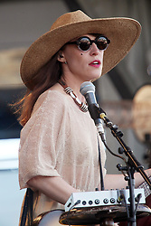28 April 2012. New Orleans, Louisiana,  USA. .New Orleans Jazz and Heritage Festival. .The Canadian singer songwriter Leslie Feist, better known simply as Feist. .Photo; Charlie Varley.