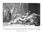 Attempt to exorcise evil spirits possessing patient in San Spirito Hospital, Rome. Illustration by Fuseli based on Lavater's description. From Lavater 'Essays on Physiognomy', London, 1792. Engraving.