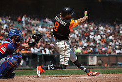SAN FRANCISCO, CA - AUGUST 26: Hunter Pence #8 of the San Francisco Giants at bat against the Texas Rangers during the second inning at AT&T Park on August 26, 2018 in San Francisco, California. The San Francisco Giants defeated the Texas Rangers 3-1. All players across MLB will wear nicknames on their backs as well as colorful, non-traditional uniforms featuring alternate designs inspired by youth-league uniforms during Players Weekend. (Photo by Jason O. Watson/Getty Images) *** Local Caption *** Hunter Pence