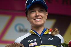 Tayler Wiles (USA) of UnitedHealthcare Cycling Team celebrates retaining the best climber's jersey after Stage 3 of the Lotto Thuringen Ladies Tour - a 124 km road race, starting and finishing in Weimar on July 15, 2017, in Thuringen, Germany. (Photo by Balint Hamvas/Velofocus.com)