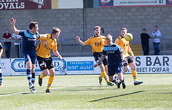 Forfar Athletic's Michael Travis scoring their goal. half time : Forfar Athletic 1 v 3 Annan Athletic, Scottish Football League Division Two game played 6/5/2017 at Station Park.