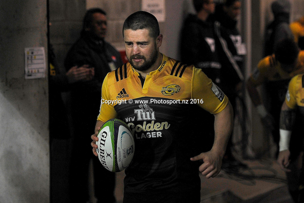 Hurricanes' Dane Coles captain leads his team onto the field during the rugby quarter final match at the Westpac Stadium in Wellington on Saturday the 23rd of July 2016. Copyright Photo by Marty Melville / www.Photosport.nz