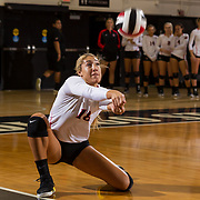 09 November 2017:  The San Diego State Aztecs women's volleyball team hosts UNLV Thursday night at Peterson Gym. San Diego State outside hitter Alexis Cage (18) digs the ball during a game against UNLV. The Aztecs won 3-1 (25-18; 16-25; 25-12; 25-13).<br /> www.sdsuaztecphotos.com