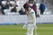 Wicket - Tom Abell of Somerset looks dejected as he walks back to the pavilion after being dismissed by Michael Clayton of Kent during the Specsavers County Champ Div 1 match between Somerset County Cricket Club and Kent County Cricket Club at the Cooper Associates County Ground, Taunton, United Kingdom on 7 April 2019.