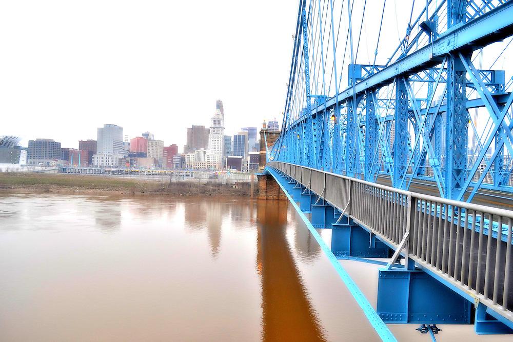 Roebling Suspension Bridge in Cincinnati, Ohio.