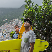 """Bocão"" and his son Ricardo, on the top of Rocinha's slum"
