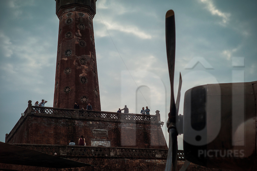 Tourists visit Flag tower landmark, Hanoi, Vietnam, Southeast Asia
