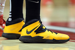 14 February 2015:   Shocker colors of Yellow and Black on a nike sneaker during an NCAA MVC (Missouri Valley Conference) men's basketball game between the Wichita State Shockers and the Illinois State Redbirds at Redbird Arena in Normal Illinois