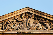 View from below of the pediment of the Galerie de Mineralogie, de Geologie et de Palobotanique (Gallery of Minerology, Geology and Paleobotany), built from 1833 to 1841 by Charles Rohault de Fleury and located in the Jardin des Plantes, Paris, 5th arrondissement, France. Founded in 1626 by Guy de La Brosse, Louis XIII's physician, the Jardin des Plantes, originally known as the Jardin du Roi, opened to the public in 1640. It became the Museum National d'Histoire Naturelle in 1793 during the French Revolution. Picture by Manuel Cohen