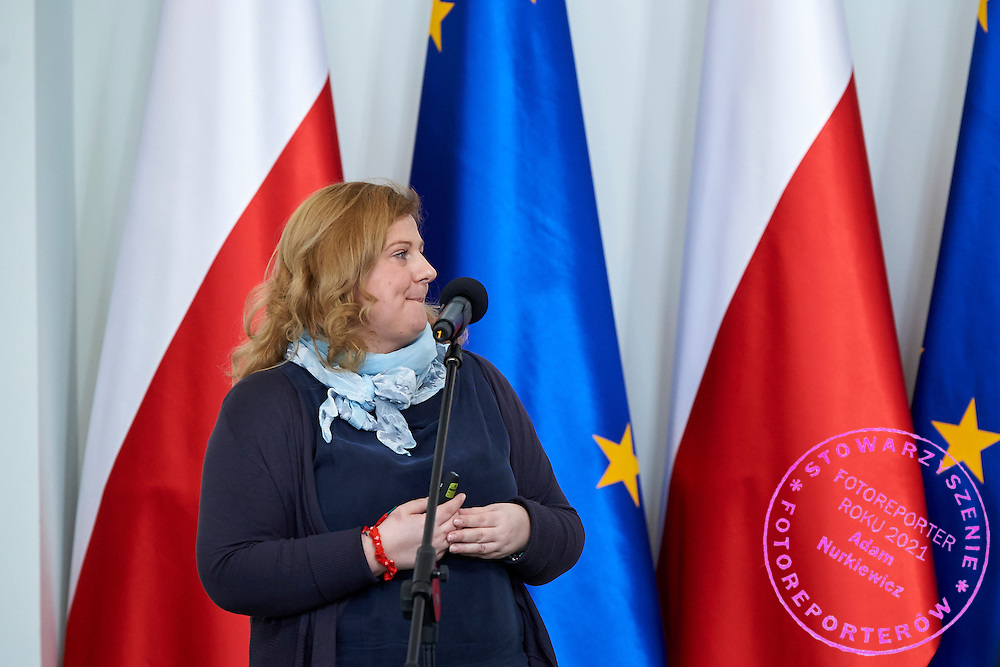 Joanna Styczen General Director of Special Olympics Poland speaks during 30 years anniversary of The Special Olympics Poland at Presidential Palace in Warsaw on March 18, 2015.<br /> <br /> Poland, Warsaw, March 18, 2015<br /> <br /> For editorial use only. Any commercial or promotional use requires permission.<br /> <br /> Mandatory credit:<br /> Photo by &copy; Adam Nurkiewicz / Mediasport