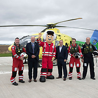 Scotland's Charity Air Ambulance (SCAA) has a new mascot, pictured with from left Paramedic Craig McDonald, Trustee Mike Beale, Scott ???? from Watermans, Rich ??? and Pilot Captain Russell Myles.<br />