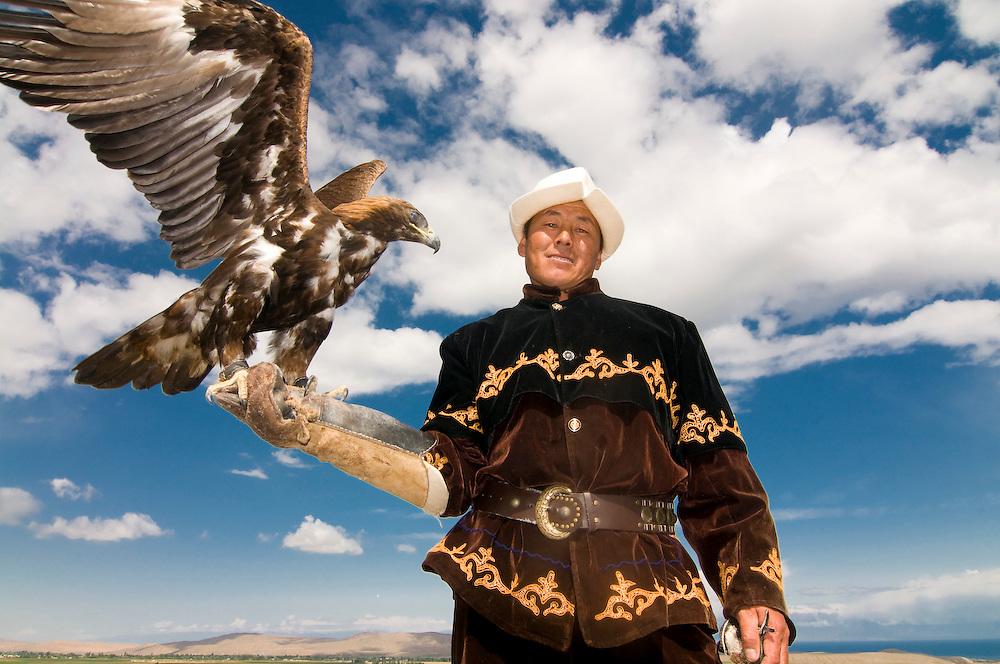 Eagle hunter with a golden eagle, Kyrgyzistan