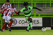 Forest Green Rovers Daniel Ogunleye(10) on the ball during the FA Youth Cup match between U18 Forest Green Rovers and U18 Cheltenham Town at the New Lawn, Forest Green, United Kingdom on 29 October 2018.