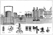 Liverpool Gas Works. Sectional view of gas works where, according to Muspratt, 'the purest gas in the kingdom is produced'. From Sheridan Muspratt 'Chemistry', London, 1860