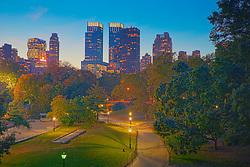 Central Park and Skyline at dusk