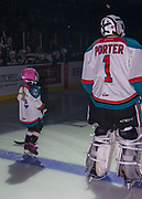 KELOWNA, CANADA - NOVEMBER 11:  Pepsi Player of the Game in the Lineup with James Porter #1 of the Kelowna Rockets at the Kelowna Rockets game on November 11, 2017 at Prospera Place in Kelowna, British Columbia, Canada.  (Photo By Cindy Rogers/Nyasa Photography,  *** Local Caption ***