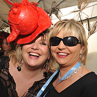 Sharon Crosbie and Orla Griffin at the Mad Hatters Tea Party in Hamlets Bar in Kinsale during the Gourmet Festival.