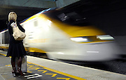 A young lady waits for the first Eurostar train to Brussels to pull into the station at Ebbsfleet, Kent, U.K., Monday, Nov. 19, 2007. Photographer: Ady Kerry / Bloomberg News