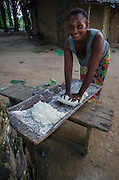 Woman kneading manioc dough<br /> Republic of Congo (Congo - Brazzaville)<br /> AFRICA