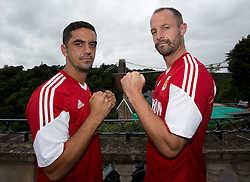 Bristol City pitman Scott Murray squares up to centre back Louis Carey - Photo mandatory by-line: Kieran McManus/JMP - Tel: Mobile: 07966 386802 31/07/2013 - SPORT - FOOTBALL - Avon Gorge Hotel - Clifton Suspension bridge - Bristol -  Team Photo