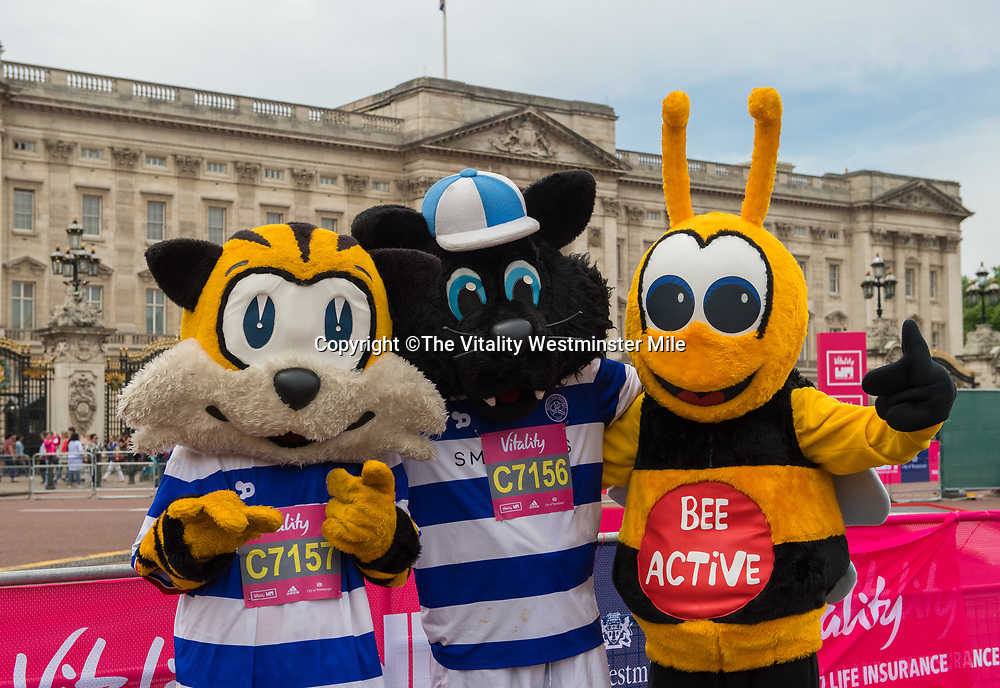 Competitors in the Mascots Race at the finishing line outside Buckingham Palace at The Vitality Westminster Mile, Sunday 28th May 2017.<br /> <br /> Photo: Thomas Lovelock for The Vitality Westminster Mile<br /> <br /> For further information: media@londonmarathonevents.co.uk