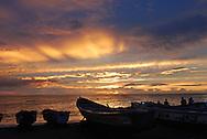 Fishing pirouges at sunset, M'bour, Senegal.