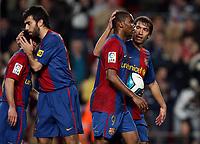 "Barcelona team players<br /> <br /> Spanish ""La Liga"" 2006-07<br /> <br /> 25 Feb 2007 (Match Day 24)<br /> <br /> Barcelona - Athletic (3-0)<br /> <br /> ""Nou Camp""-Stadium-Barcelona-Spain<br /> <br /> Samuel Eto'o (2nd R) celebrates after scoring with Ludovic Giuly, Edmilson, Giovanni Van Bronckhorst<br /> <br /> Photographer: Paco Serinelli INSIDE"