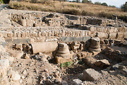 The Palace of Agrippa II from the first century CE. The Cardo. Photographed at the Hermon Stream Nature reserve and Archaeological Park (Banias) Golan Heights Israel