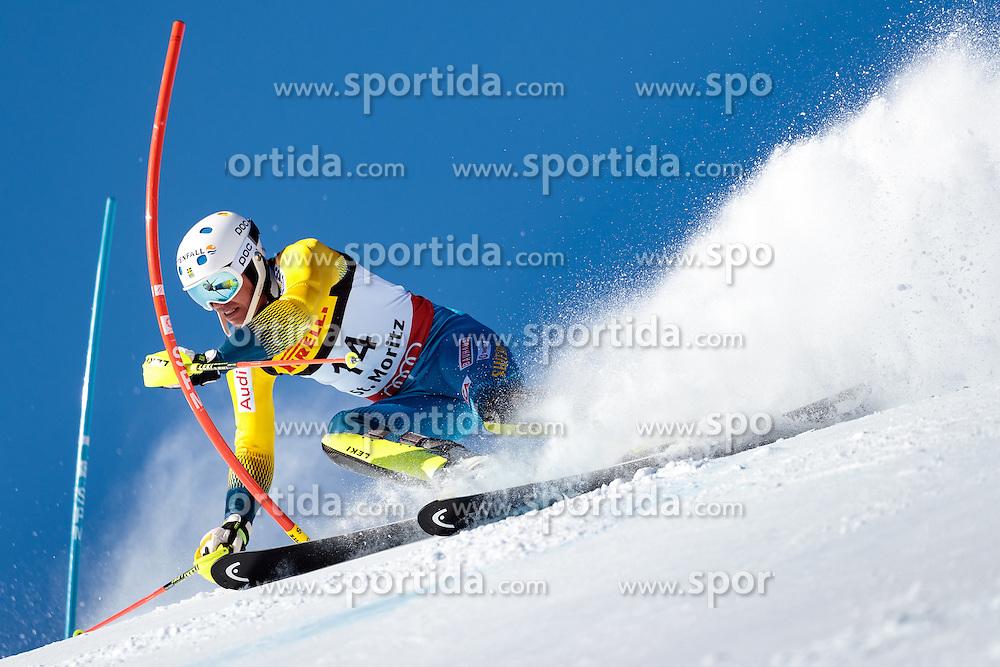 19.02.2017, St. Moritz, SUI, FIS Weltmeisterschaften Ski Alpin, St. Moritz 2017, Slalom, Herren, 1. Lauf, im Bild Andre Myhrer (SWE) // Andre Myhrer of Sweden in action during his 1st run of men's Slalom of the FIS Ski World Championships 2017. St. Moritz, Switzerland on 2017/02/19. EXPA Pictures © 2017, PhotoCredit: EXPA/ Johann Groder