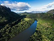 Aerial photograph of kayaking on the Wailua River, Kauai, Hawaii