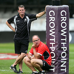 DURBAN, SOUTH AFRICA - JULY 18: Sean Everitt (Assistant Coach) of the Cell C Sharks with Jake White (Sharks Director of Rugby) of the Cell C Sharks during the Cell C Sharks captains run at Growthpoint Kings Park on July 18, 2014 in Durban, South Africa. (Photo by Steve Haag/Gallo Images)