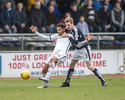 Inverness Caledonian Thistle's Jordan Roberts and Dundee's Kevin Holt. <br /> Dundee 1 v 1 Inverness Caledonian Thistle, SPFL Ladbrokes Premiership game played at Dens Park, 27/2/2016.
