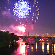 Minneapolis, MN celebrates the 4th of July with their fireworks show above the Mississippi river in downtown Minneapolis.