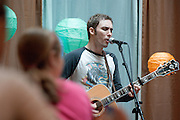 "18558Acoustic Café In Baker Center..Brad Skistimas from  ""Five Times August"", Dallas, TX performing."