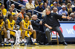 Feb 18, 2017; Morgantown, WV, USA; West Virginia Mountaineers head coach Bob Huggins yells down the bench during the first half against the Texas Tech Red Raiders at WVU Coliseum. Mandatory Credit: Ben Queen-USA TODAY Sports
