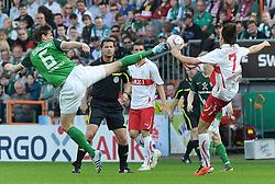 02.04.2011, Weserstadion, Bremen, GER, 1.FBL, Werder Bremen vs VfB Stuttgart, im Bild Tim Borowski (Bremen #6), Martin Harnik (Stuttgart #7)   EXPA Pictures © 2011, PhotoCredit: EXPA/ nph/  Frisch       ****** out of GER / SWE / CRO  / BEL ******