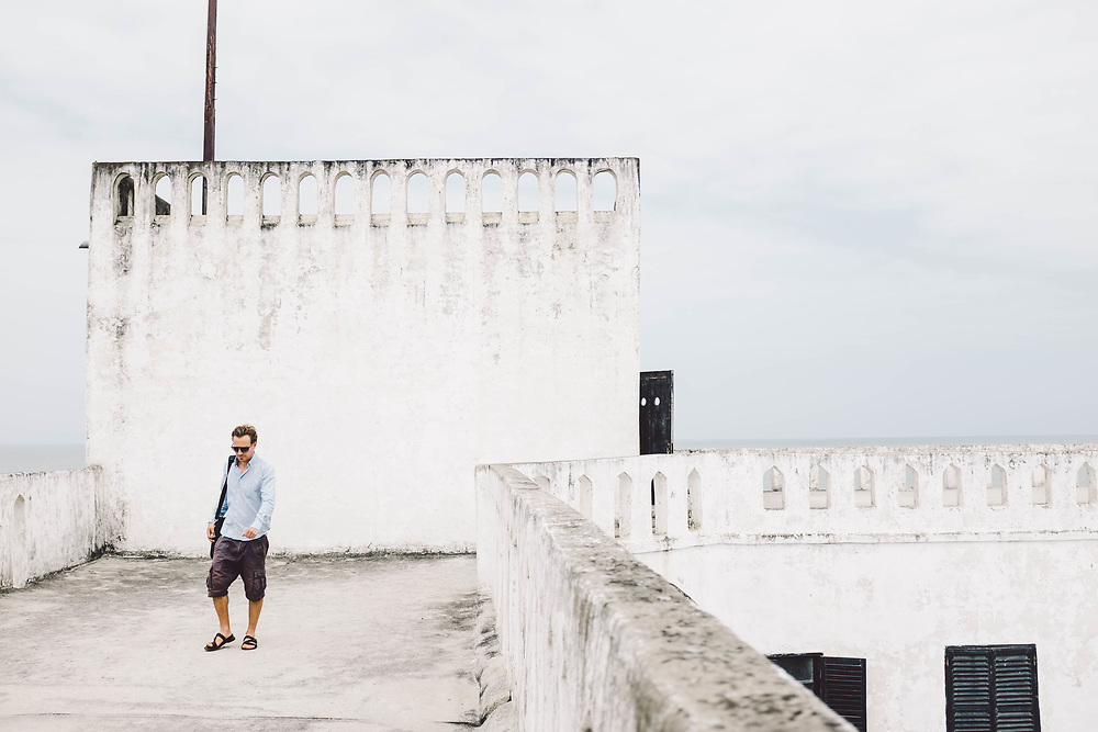 Director Daniel Dencik on the filmset of 'Gold Coast', Elmina Castle, Ghana. Photo by Anders Heinrichsen