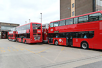 LONDON - JUNE 22: London bus workers have gone ahead with a strike in a dispute over an Olympic bonus. Hounslow Bus Garage, London, UK. June 22, 2012. (Photo by Richard Goldschmidt)
