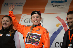 Hannah Barnes (GBR) of CANYON//SRAM Racing celebrates retaining the overall leader's orange jersey after Stage 2 of the Setmana Ciclista Valenciana - a 115 km road race, between Castello and Vila-Real on February 23, 2018, in Valencia, Spain. (Photo by Balint Hamvas/Velofocus.com)